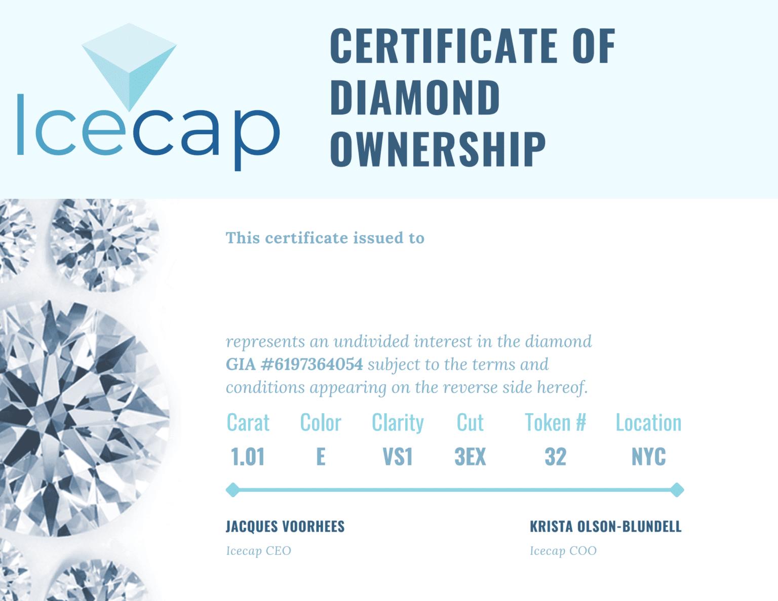 Sample Certificate of Diamond Ownership